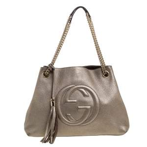 Gucci Metallic Beige Pebbled Leather Medium Soho Tote