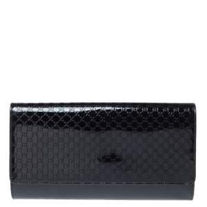 Gucci Black Micro Guccissima Patent Leather Broadway Clutch
