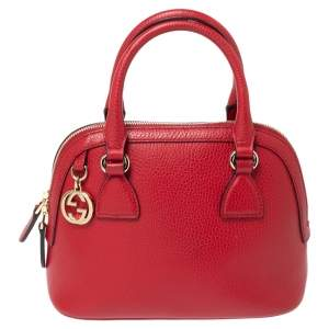 Gucci Red Leather Small GG Charm Dome Satchel