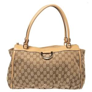 Gucci Beige GG Canvas and Leather D Ring Tote