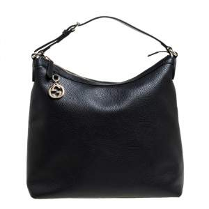 Gucci Black Leather GG Charm Hobo
