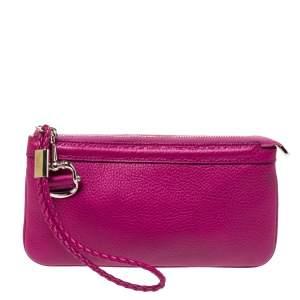 Gucci Magenta Leather Wristlet Clutch