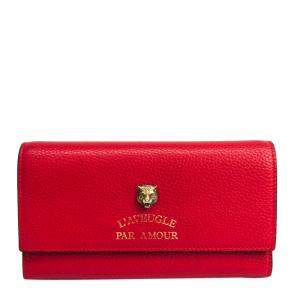 Gucci Red Leather Animalie Continental Wallet
