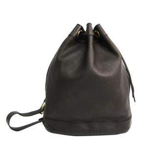 Gucci Black Leather Drawstring Tote Bag