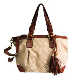 Gucci Beige/Brown Leather Diamante Bamboo Shoulder Bag