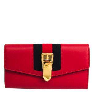 Gucci Red Leather Sylvie Continental Wallet