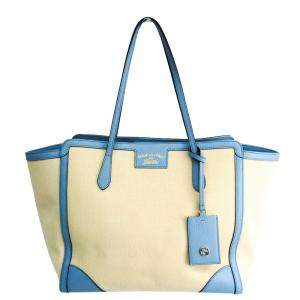 Gucci White/Blue Leather Medium Swing Tote Bag
