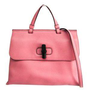 Gucci Pink Leather Bamboo Daily Top Handle Bag