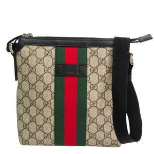 Gucci Beige/Brown GG Supreme Canvas Flat Messenger Bag