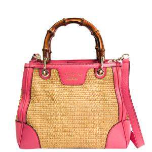 Gucci Beige/Pink Straw Bamboo Shopper Shoulder Bag