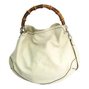 Gucci White Leather Bamboo Hobo Bag
