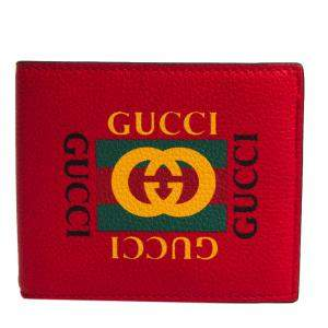 Gucci Red Leather Logo Gucci Print Wallet
