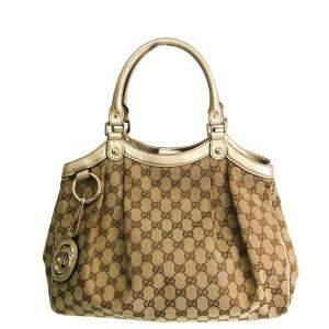 Gucci Beige/Brown GG Canvas Sukey Tote Bag