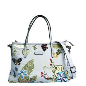 Gucci Light Blue Knight Flora Leather Tote Bag