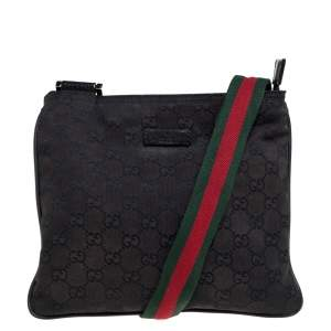 Gucci Black GG Canvas Small Vintage Web Messenger Bag