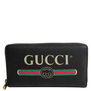Gucci Black Printed Leather Zip Around Wallet