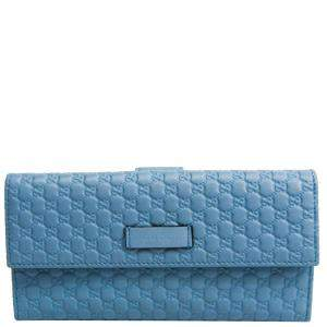 Gucci Blue Guccissima Leather Continental Wallet