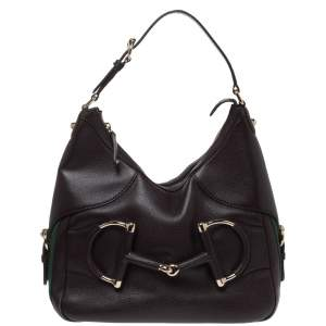 Gucci Dark Brown Leather Small Web Horsebit Heritage Hobo