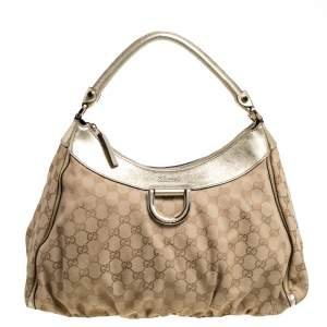 Gucci Beige/Gold GG Canvas and Leather D Ring Hobo