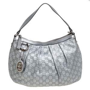 Gucci Silver Guccissima Leather Medium Sukey Hobo