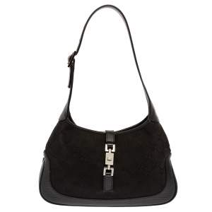 Gucci Black GG Canvas and Leather Small Jackie Hobo