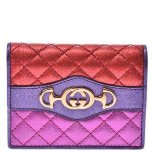 Gucci Red/Blue Laminated Horsebit Quilted Leather Wallet