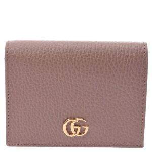 Gucci Pink Leather GG Marmont Compact Wallet