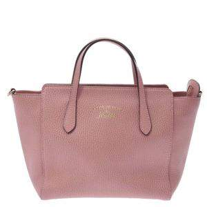 Gucci Pink Leather Small Swing Tote Bag
