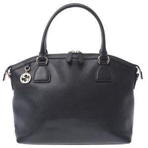 Gucci Black Leather Dollar Charm Totes Bag