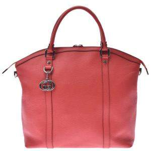 Gucci Red Leather GG Charm Tote Bag