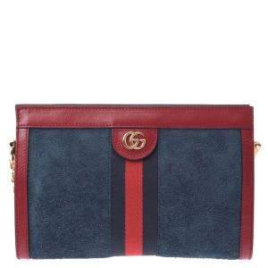 Gucci Red/Navy Blue Ophidia Velvet Shoulder Bag