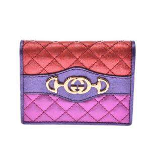 Gucci Red/Purple Laminated Horsebit Compact Wallet