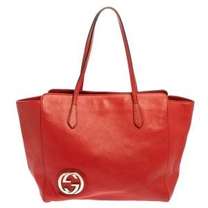 Gucci Red Leather Large Interlocking GG Shopper Tote