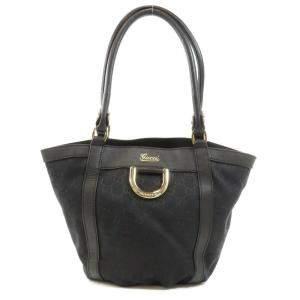 Gucci Black Canvas D Ring Shoulder Bag