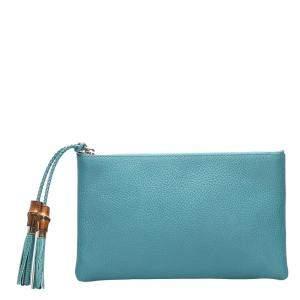 Gucci Blue Leather Dollar Calf Clutch Bag