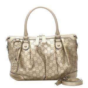 Gucci Gold Guccissima Sukey Leather Satchel