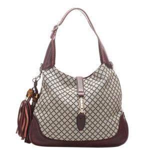 Gucci Brown Diamante Canvas New Jackie Shoulder Bag