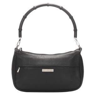 Gucci Black Leather Baguette Bag
