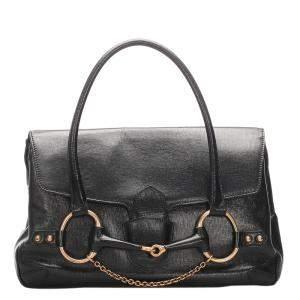 Gucci Black Leather Large Horsebit Shoulder Bag