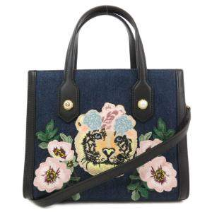 Gucci Black/Black Denim  Tiger Embroidery Tote Bag