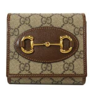Gucci Beige/Brown GG Supreme Canvas Horsebit Wallet