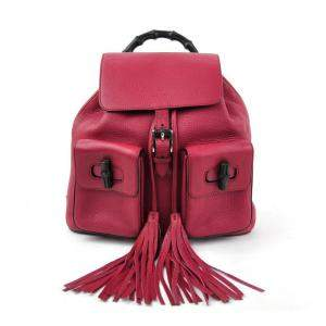 Gucci Pink Leather Tassel Bamboo Daily Backpack