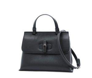 Gucci Black Leather Bamboo Daily Shoulder Bag