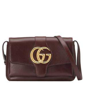 Gucci Bordeaux Leather Small Arli Crossbody Bag