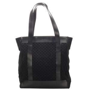 Gucci Black Canvas Tote Bag