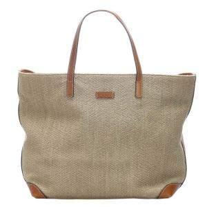 Gucci Beige/Brown Hemp Tote Bag
