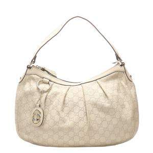 Gucci White Guccissima Leather Sukey Shoulder Bag