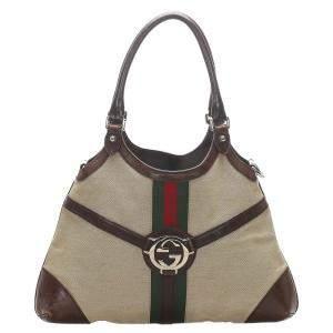 Gucci Beige/Brown Canvas Reins Hobo Bag