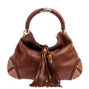 Gucci Brown Leather Medium Babouska Indy Hobo