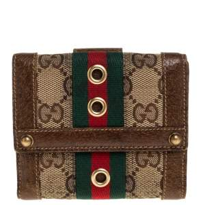 Gucci Beige/Brown GG Canvas and Leather Web Compact Wallet